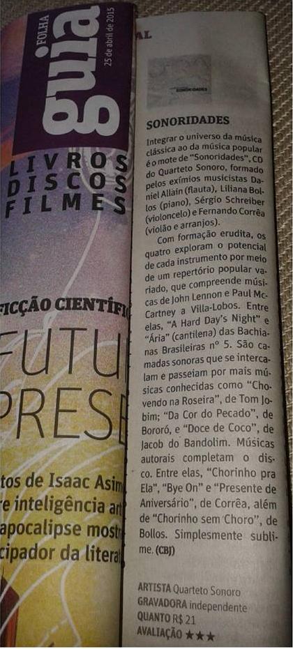 Quarteto Sonoro - Resenha – Jornal Folha de S. Paulo, 25/04/15