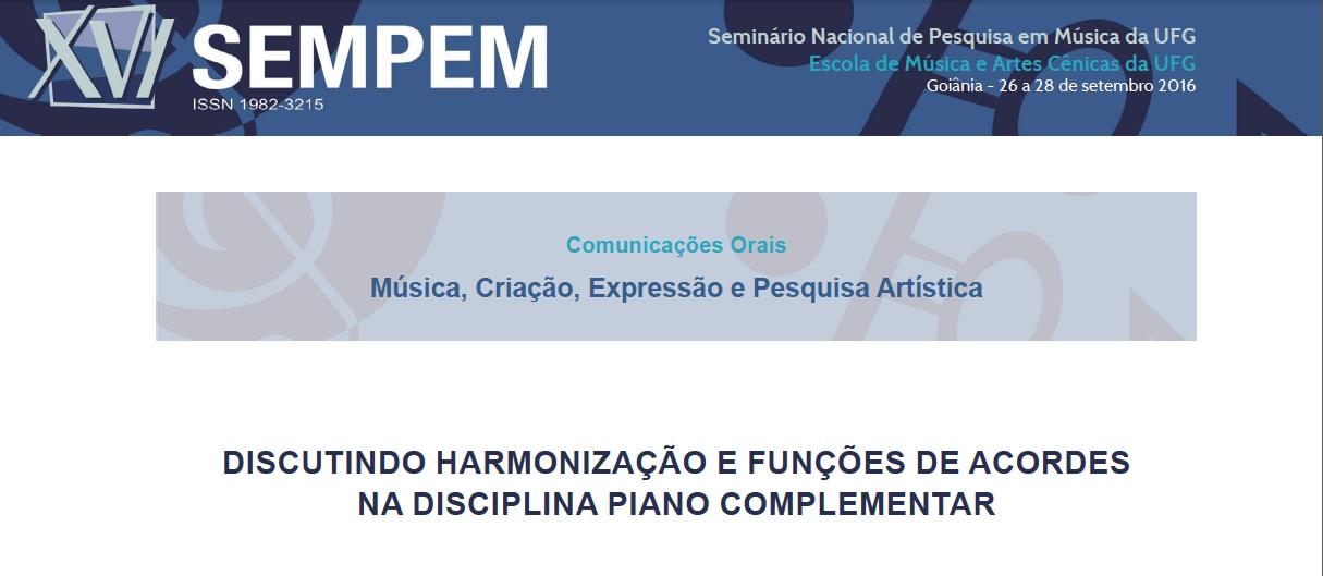 Este trabalho discute a Harmonização como ferramenta essencial na disciplina Piano em Grupo com o objetivo de reforçar a importância da prática harmônica em aulas coletivas de piano.